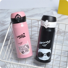 Cute Cat Stainless Steel Kitchen Drinkware Water Bottle Female Girl Water Caneca Korean Style Letter Pattern Coffee Thermo Cup(China)
