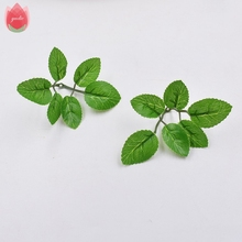 HOT SALE 10pcs 6Leaves/pcs Green Artificial Handmade Leaf For Wedding Home Decoration Foliage DIY Scrapbooking Craft Fake Flower