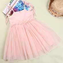 Helen115 Pretty Kids Baby Girls Sparkling Flower Lace Sleeveless Belt Ball Gown Dresses 2-6Years