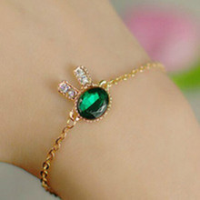 New gentle aquatic imitation gemstone bracelet jewelry wholesale cute little bunny Free Shipping