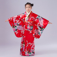 2017 new Child Novelty Cosplay Floaral Dress Japanese Baby Girl Kimono Dress Children Vintage Yukata Kid Girl Dance Costumes(China)