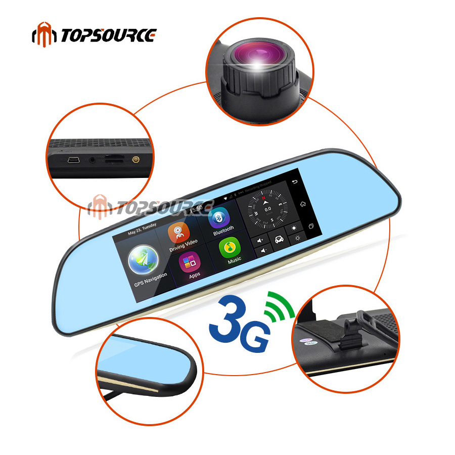 """TOPSOURCE Auto GPS ANDROID 5.0 1G/16G 3G 7"""" IPS Car DVR Mirror Camera Dual Lens 1080P Video Recorder Dash Cam Parking Monitor 13"""