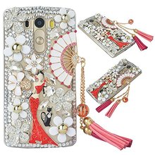 Luxury Rhinestone 3D Handmade Glitter Diamond Bling Rhinestone Crystal Clear Hard PC Protective Back Cover For LG G3 G4 G5 G6(China)