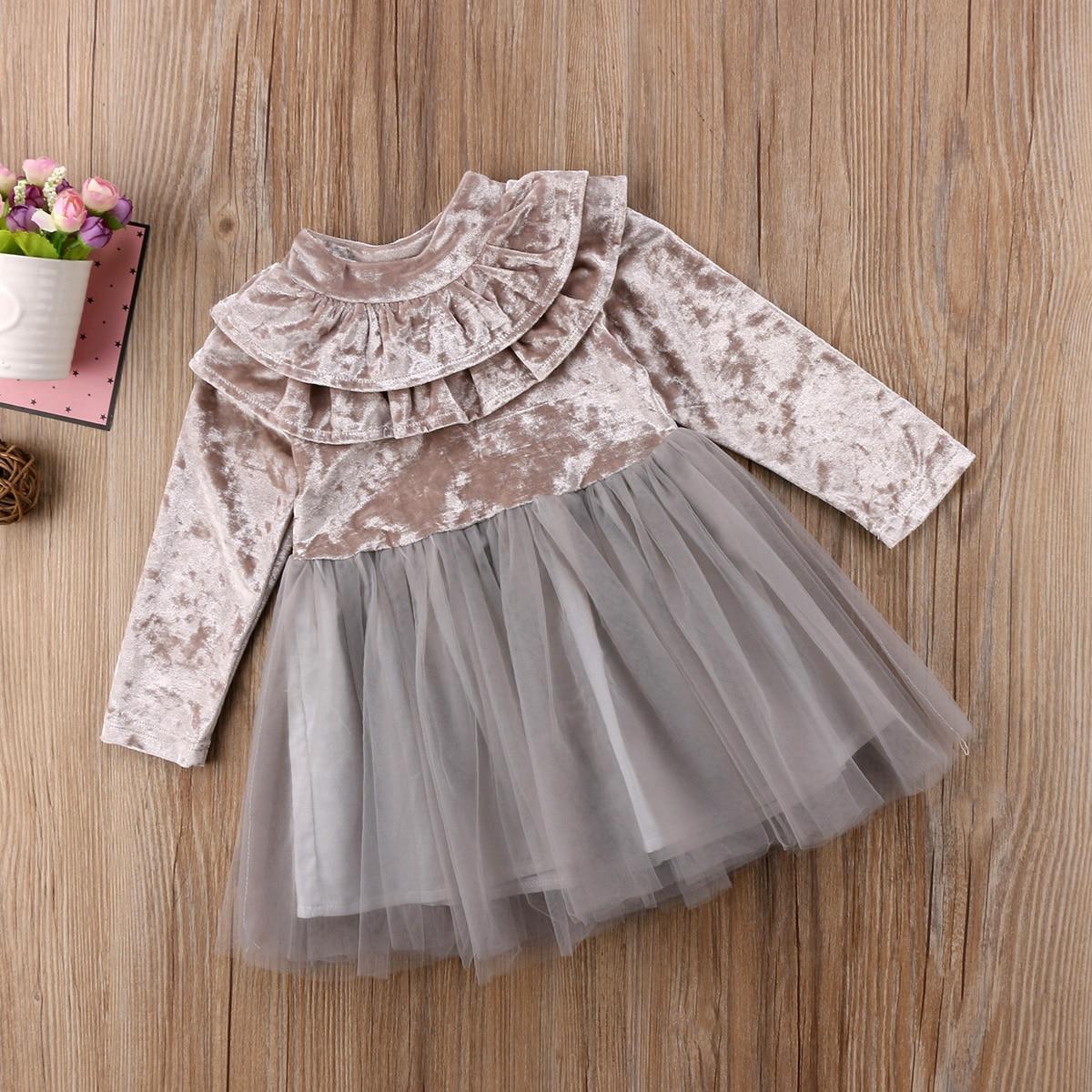 Princess Kids Baby Girls Dress Velvet Fleece Party Dress Ruffle Tulle Tutu Dress