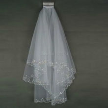 Bling Beaded Cheap Tulle Two Layers Short Veils White Ivory In Stock Shoulder Length Alibaba China Wedding Accessories Veil