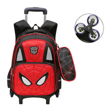 Spiderman Kids Trolley School Bags for Girls Boys Cartoon Transformer School Backpacks Children Rolling Luggage Rolling Suitcase