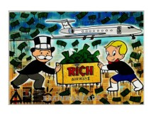 Free shipping pop artist Painting Richie Rich Graffiti money art Alec Monopoly Banksy arts poster hand painted no frame x-148