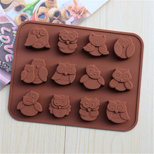 FoodyMine New Arrived 1Pcs 12 Hole Owl Shape Silicone Chocolate Mold , Ice, Cupcake, Lollipop,& Sugar Tool