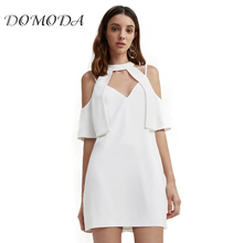 DOMODA 2017 Fashion Summer Mini Dress Women V Neck Halter Cut Out Cold Shoulder Clothing Party Casual Sexy Backless Dresses