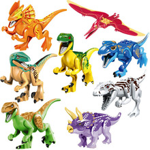 Jurassic Dinosaur Small Figure Animal Wild World Pterosauria Triceratop Indomirus T-Rex Building Block Toy for kid boy children(China)