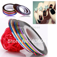 20PCS Multicolor Rolls Strip Striping Tape Line Wrap Sticker Tips Decoration DIY Nail Art Manicure Professional