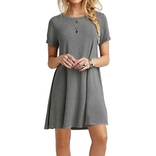 Ladies Summer Dress Solid Loose Women Short Sleeve O-Neck Casual Party Club Wear Elegant Dresses Vestidos