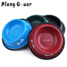 Pet Feeders Supplies Stainless Steel Water Bowl Bone Cat Dog Red Food Bowls(China)