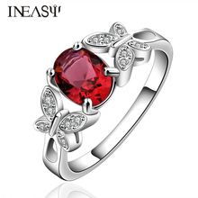 Ring Wedding Jewelry Women Rhinestones Crystal Engagement Zircon Rose Classes Rings Butterfly Silver Plated Rings For Women