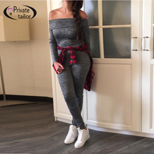 100% Top-grade Knitted Cotton Off Shoulder long sleeve 2016 bandage playsuit sexy jumpsuit tight fitted gray club denim bodysuit