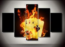 HD Printed Poker with the flame Painting wall art room decor print poster picture canvas Free shipping(China)