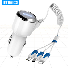 [3 USB Ports Cable] MEIDI Car Charger 7.2A Fast mobile phone charger With 1m Cable For iPhone7 SamsungS7 Xiaomi Type C in Stock(China)