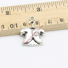 15pcs Tibetan Silver Plated Baby Clothes Charms Pendants for Bracelet Necklace Jewelry Making DIY Handmade Craft 25x20mm