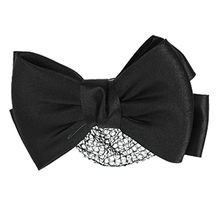 Women Black Polyester Bowknot Hairclip hair clipper Scarf Net(China)