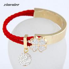 xiacaier Fashion Clover Simulated Diamond Bead Charm Bracelets Bangles For Women Gold Color Pu Leather Braided Bangle Jewelry