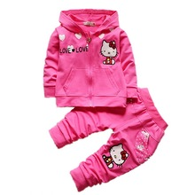Girls Baby Suit Children's clothing set mei red suit kids suit KT cartoon cat hooded sweatshirt + Pants 2Pcs set Retail 1-4years(China)