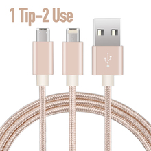 2in1 Universal Micro Usb Cable for Xiaomi 4 4c Samsung s6 s7 8pin Charger Cord for iPhone 5s 6 plus iPad Nylon Line Power Cabo