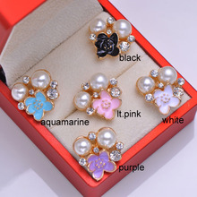 (L0147) free shipping wholesale 50 pcs/lot, metal rhinestone embellishment,rose gold plating,flat back