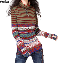 Artka Women's Autumn Retro Casual Slim Fit Double Jacquard Turtleneck Long Sleeve Slim With Gloves Wool Sweater YB14439D
