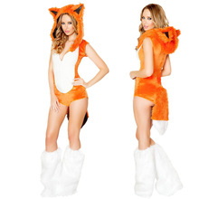 New Adult Sexy Cute Orange Tail Fox Halloween Animal Women Costumes Slim Bodycon Dresses Carnival Party Faux Fur Costume(China)
