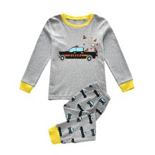 Kids Pijamas Cotton Cartoon police car Baby Boys Girls Clothing Sets Sleepwear Costume Children Clothes Underwear Pajamas(China)