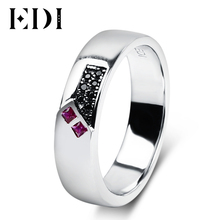 EDI Natural Ruby Gemstone Wedding Ring Sapphire 925 Sterling Silver Rings Bijoux For Couple Wedding Bands Fine Jewelry(China)