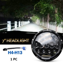 75w Led Headlight 7inch Round High Low Beam DC 12v 24v External Lights for Off Road 4x4 Jeep Wrangler Jk Tj Lada Niva(China)
