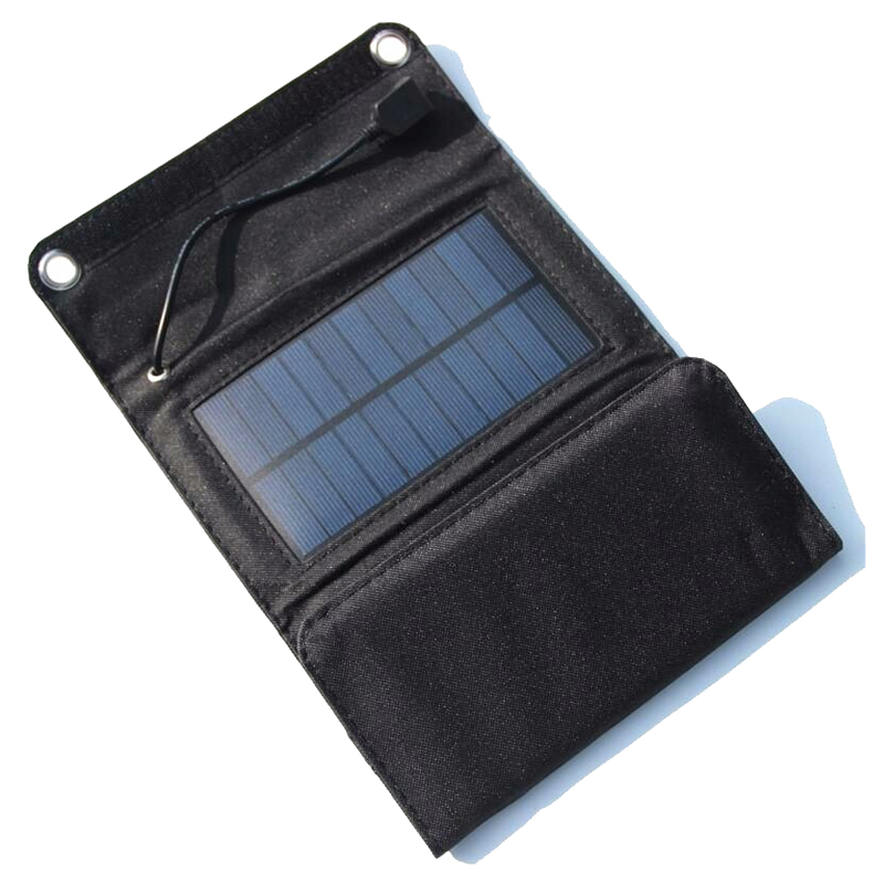 5W Fodable Solar Charger Solar Panel Charger For Mobile Phone 5W Solar Panel Charger For Power Bank black