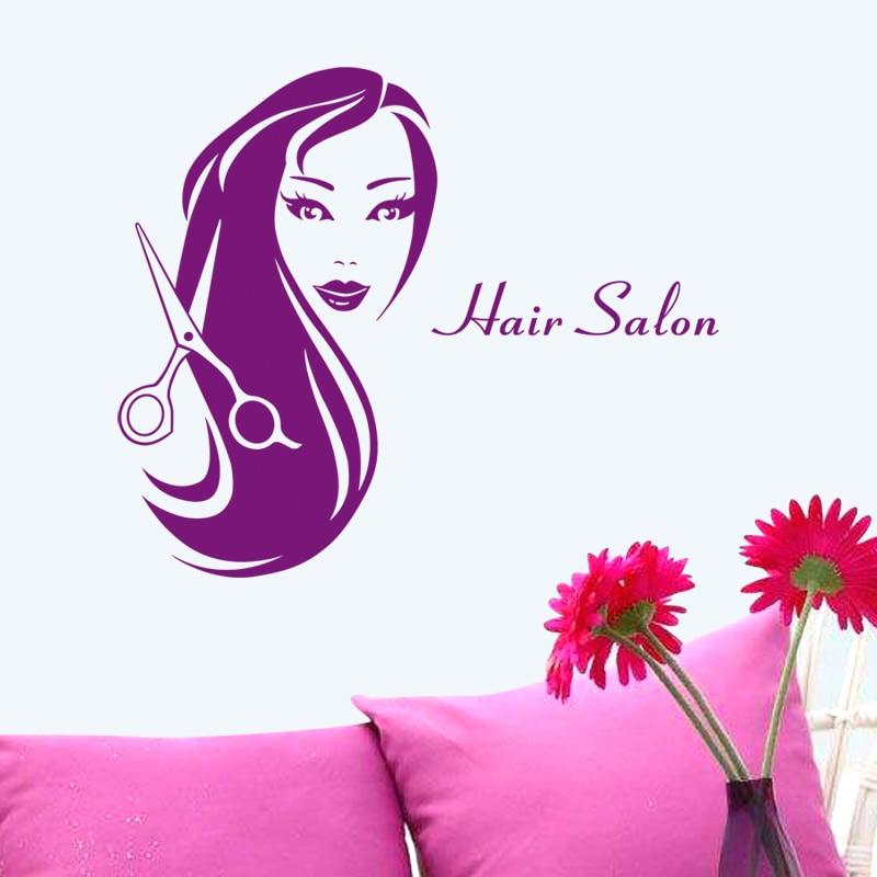 Hair Salon Sticker Beauty Scissors Decal Haircut Name Posters Vinyl Wall Art Decals Decor Decoration Mural Salon Sticker M0016