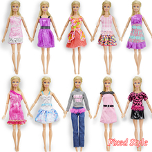 Fixed style 10 Pcs Mix Barbie Doll Dress + 10 Pair Shoes Beautiful Fashion Party Outfit Clothes For Barbie Dolls Girl's Gift Toy(China)