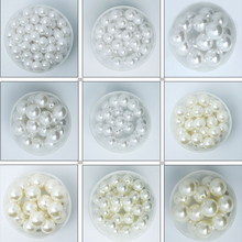Best Selling 20-2000 Pcs White Ivory Color ABS Acrylic Plastic Beads Pearl Imitation Round Beads 4/6/8/10/12/14/16/18/20mm Dia.