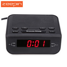 Modern Digital FM Radio Alarm Clock 0.6 Inch LED Display with Dual Alarm Buzzer Snooze Sleep Function Red LED Time Display klok(China)