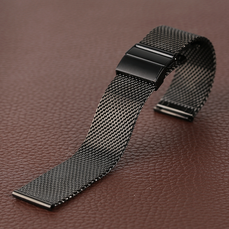 Mesh Milanese Bracelet Clasp Watchbands High Quality 18mm 20mm 22mm Silver Black Wrist Watch Band Strap for Clock Replacement 2018 (21)