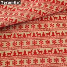 Teramila Linen Fabric 50cmx145cm Grey Basic Printed Red Christmas Series Patterns Bag Hat Tablecloth Decoration Home Textile(China)