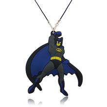 1PCS Batman Superman Superheroes Cartoon PVC Pendants+51cm Necklaces Rope Chain Necklaces Party Gift Fashion Jewelry(China)