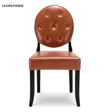 iKayaa US UK FR Stock Classic Antique Style Tufted Dining Chair PU Living Room Chair W/ Rubber Wood Leg sillas para restaurant