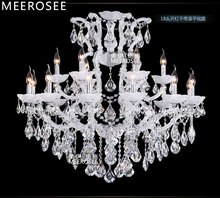 Classic Maria Theresa Chandelier Clear Crystal White Glass 18 Lamp Crystal Chandelier Light for Foyer Restaurant Hotel Project(China)