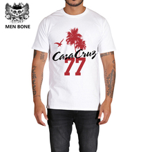 Rocksir casual style men's t shirt summer new arrive coconut tree with Seagulls and 77 print white t-shirt men effect costum