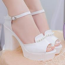 women shoes woman sandals spring/autumn female platform high heel sandals thick platform shoes Muffin Bottom Sexy Mouth shoes 48