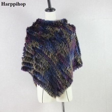 Harppihop Knitted rabbit fur shawl poncho stole cape scrap wrap women's garment Pashmina(China)