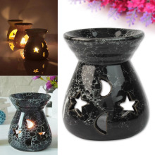 Fashion Black Ceramic Scent Essential Oil Burner Lavender Fragrance Aromatherapy Diffuser Gift(China)