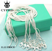 50% off on 2018 retail 16 18 20 22 24 inch bulk c008 fashion silver 1MM snake chain accessory jewelry findings stamp CYPRIS(China)