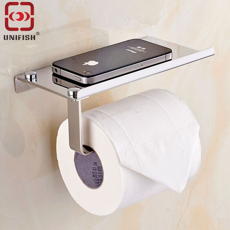 UniFish Wall Mounted Stainless Steel Toilet Paper Holder Roll Bathroom Towel Rack with Phone Shelf  for Bathroom Restaurant<br><br>Aliexpress