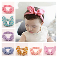 Cute Striped Fabric Rabbit Ear Bow Headband For Kids Girl Stretch Polka Dot Twisted Head Wraps
