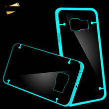 KISSCASE Light Noctilucent Bright Clear Transparent Case For Samsung Galaxy S7 S7 Edge Hard PC+ Soft Rim Back Protective Cover